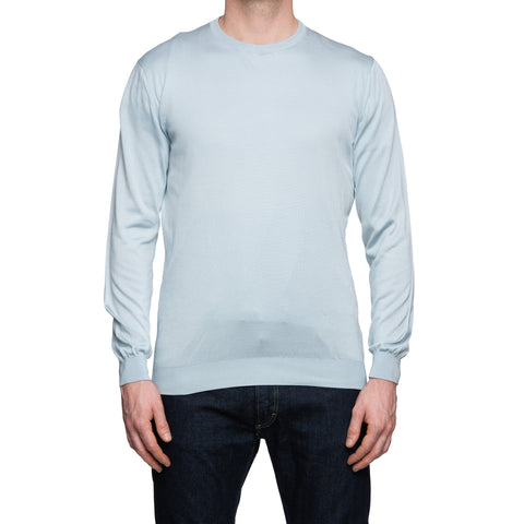 CESARE ATTOLINI Light Blue Silk Crewneck Sweater EU 50 US M