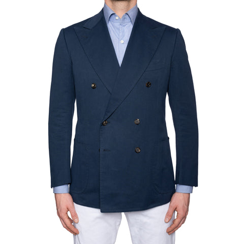 CESARE ATTOLINI for M.BARDELLI Bespoke Navy Blue Cotton DB Jacket EU 50 US 40
