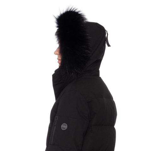 COLMAR Black Down-Feather Fur Trimmed Hooded Parka Jacket Blackout NEW
