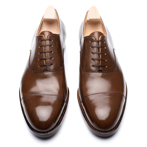 "PASSUS SHOES Handmade ""Winston"" Chestnut Boxcalf Cap Toe Oxford Shoes"
