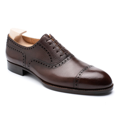 "PASSUS SHOES ""Martin""Saddle Brown Hatch Grain Brogue Oxford Shoes"