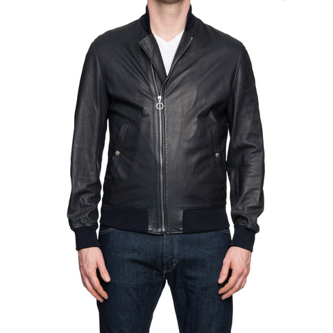 SERAPHIN Dark Blue Lamb Leather Bomber Jacket Blouson FR 48 NEW US S