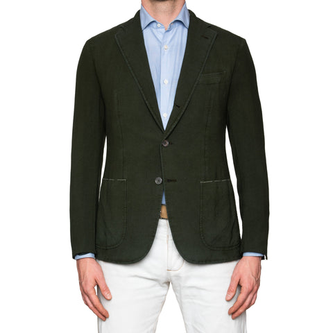 Sartoria PARTENOPEA Hand Made Green Wool Garment Dyed Blazer Jacket 50 NEW 40