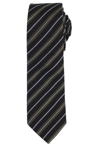 DIOR HOMME Black Striped Wool-Silk Skinny Regimental Tie NEW