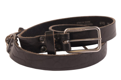 DIRK BIKKEMBERGS Black Leather Thin Belt with Rectangular Buckle 54 NEW 95cm/ 38