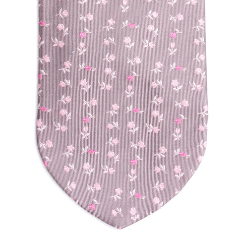DOLCEPUNTA Italy Hand Made Gray-Pink Floral Silk Classic Tie NEW