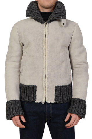 DOLCE & GABBANA Light Gray Lambskin Shearling Flight Bomber Jacket 50 NEW US M