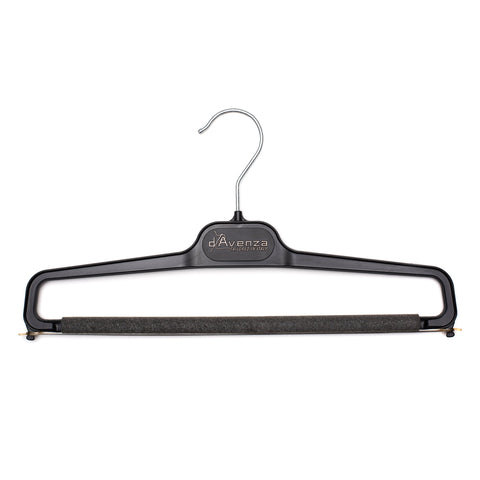 D'AVENZA Black Plastic Pants Hanger Spongy Bar Set of 5