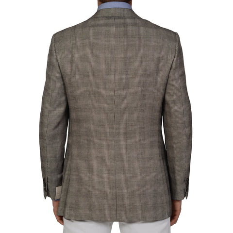 D'AVENZA Roma Handmade Gray Glen Plaid Wool Silk Jacket EU 52 NEW US 42