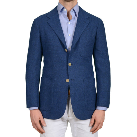D'AVENZA Roma Handmade Blue Wool Tweed Jacket Sport Coat EU 50 NEW US 40