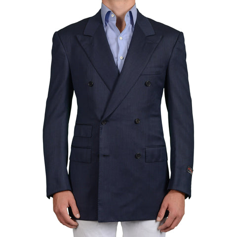 D'AVENZA Handmade Blue Wool Super 120's DB Blazer Jacket EU 50 NEW US 40 Long
