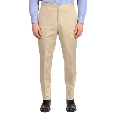 D'AVENZA Roma Beige Cotton Flat Front Dress Pants EU 50 NEW US 34 Regular Fit