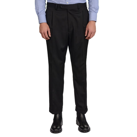 D'AVENZA Roma Black Wool Single Pleated Dress Pants EU 54 NEW US 38