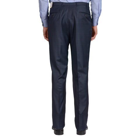 D'AVENZA Roma Blue Plaid Wool DP Dress Pants EU 54 NEW US 38 Classic Fit