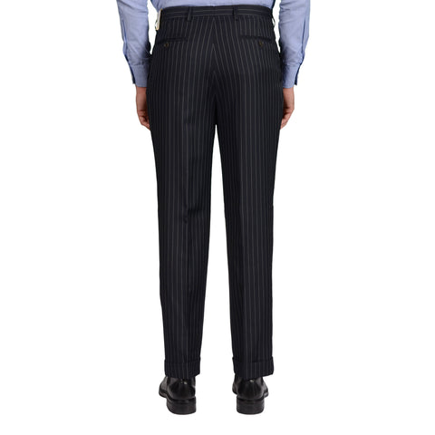D'AVENZA Roma Blue Striped Wool-Silk SP Dress Pants EU 50 NEW US 34 Classic Fit