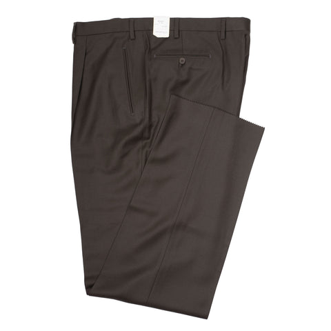 D'AVENZA Roma Brown Wool Flannel SP Dress Pants EU 60 NEW US 44 Classic Fit