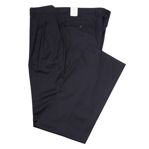 D'AVENZA Roma Dark Blue Wool DP Dress Pants EU 60 NEW US 44 Classic Fit
