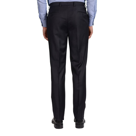D'AVENZA Roma Dark Blue Wool Flat Front Dress Pants EU 50 NEW US 34 Classic Fit
