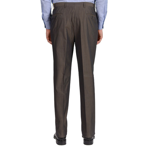 D'AVENZA Roma Gray Striped Cotton DP Dress Pants EU 54 NEW US 38 Classic Fit