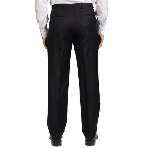 D'AVENZA Roma Handmade Black Wool DP Dress Pants EU 50 NEW US 34 Classic Fit