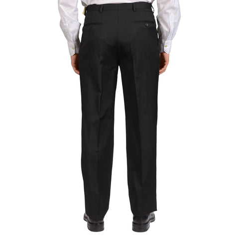 D'AVENZA Roma Handmade Black Wool SP Dress Pants EU 48 NEW US 32 Classic Fit