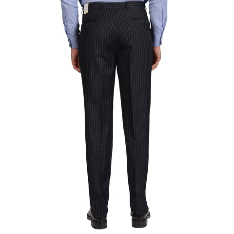 D'AVENZA Roma Handmade Blue Striped Wool-Silk DP Dress Pants NEW Classic Fit