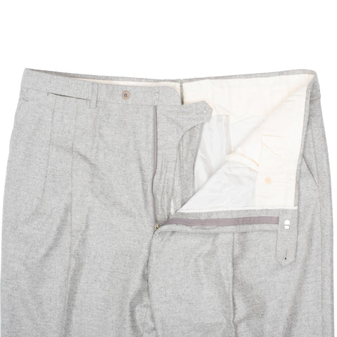 D'AVENZA Roma Handmade Gray Cashmere Flannel DP Dress Pants NEW Classic Fit