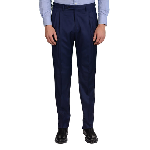 D'AVENZA Roma Handmade Indigo Blue Wool DP Dress Pants NEW Classic Fit