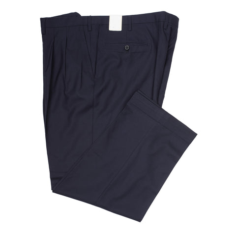D'AVENZA Roma Indigo Blue Wool DP Dress Pants EU 58 NEW US 42 Short Classic Fit