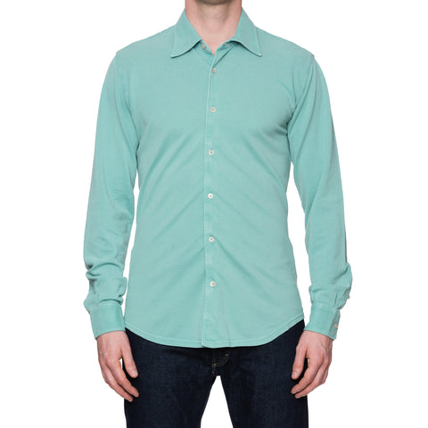 "FEDELI 34 LAB ""Pard"" Solid Mint Cotton Pique Long Sleeve Polo Shirt 50 NEW US M"