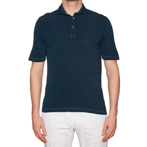 FEDELI Navy Blue Striped Cotton Pique Frosted Polo Shirt 50 NEW US M