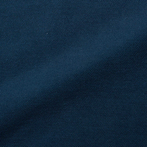FEDELI Solid Navy Blue Cotton Pique Frosted Polo Shirt EU 46 NEW US XS
