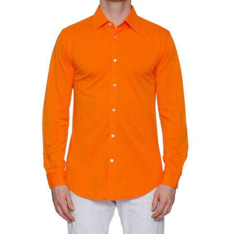 "FEDELI 34 LAB ""Pard"" Solid Orange Cotton Pique Frosted Long Sleeve Polo Shirt NEW"