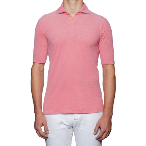 "FEDELI ""Chris"" Solid Coral Cotton Pique Oxford Polo Shirt EU 56 NEW US 2XL"