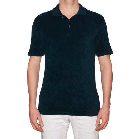 "FEDELI ""Mondial"" Solid Dark Blue Terry Cloth Polo Shirt EU 52 NEW US L"