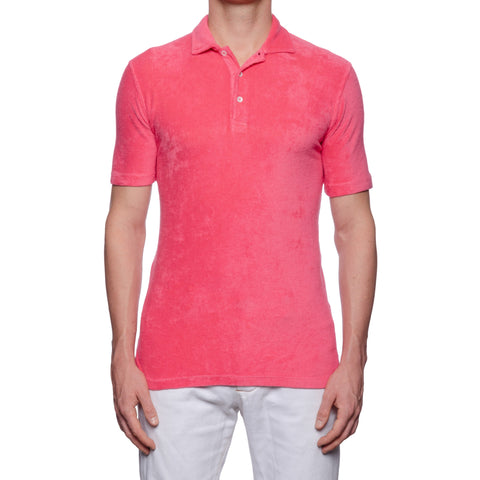 "FEDELI ""Mondial"" Solid Pink Terry Cloth Short Sleeve Polo Shirt NEW"
