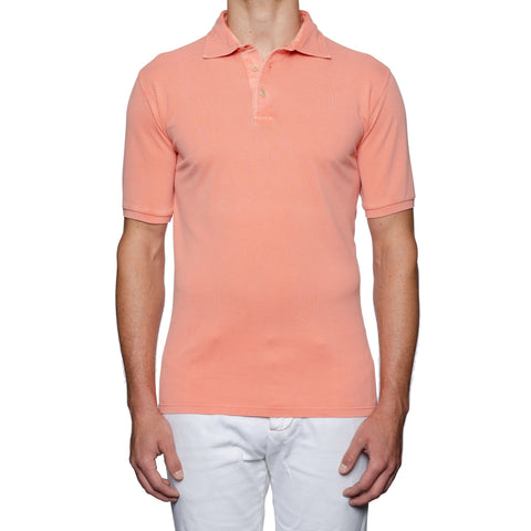 "FEDELI ""North"" Solid Salmon Cotton Pique Frosted Polo Shirt EU 56 NEW US 2XL"