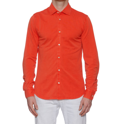 "FEDELI ""Robert"" Solid Orange Cotton Pique Frosted Polo Shirt EU 52 NEW US L"