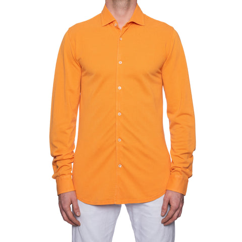 "FEDELI ""Steve"" Solid Orange Cotton Pique Long Sleeve Polo Shirt EU 52 NEW US L"
