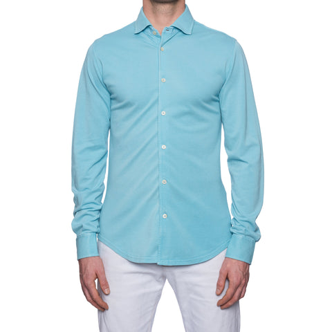 "FEDELI ""Steve"" Solid Turquoise Cotton Pique Long Sleeve Polo Shirt 48 NEW US S"