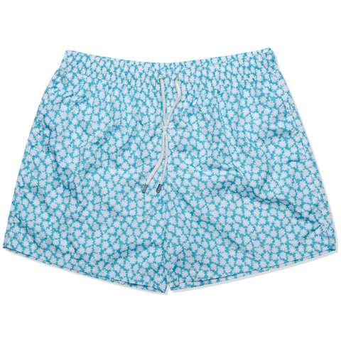 FEDELI Made in Italy Aqua Blue-White Madeira Airstop Swim Shorts Trunks NEW 2XL