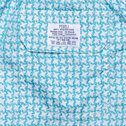 FEDELI Italy Aqua Blue Printed Madeira Airstop Swim Shorts Trunks NEW 2XL
