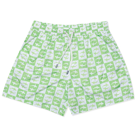 FEDELI Italy Green-White Plaid Shark Madeira Airstop Swim Shorts Trunks NEW