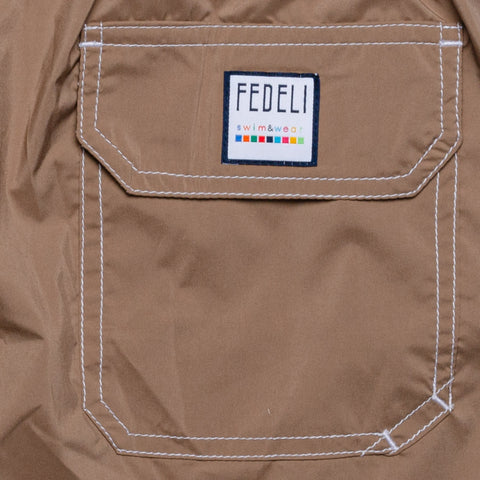 FEDELI Solid Light Brown Madeira Airstop Swim Shorts Trunks NEW Size S