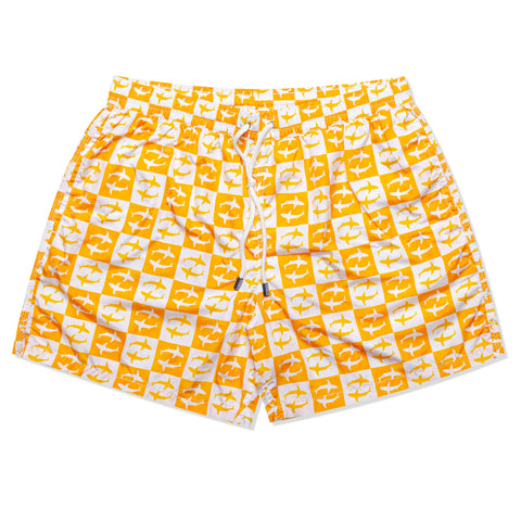 FEDELI Made in Italy Orange-White Plaid Shark Madeira Airstop Swim Shorts Trunks
