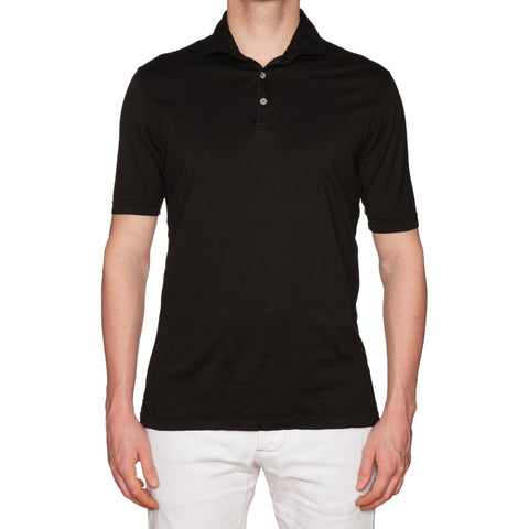 "FEDELI ""Zero"" Solid Black Cotton Frosted Jersey Polo Shirt 52 NEW US L"