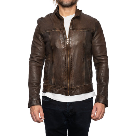 GIANLUCA VACCHI Collection Brown Antiqued Leather Bomber Biker Jacket XS