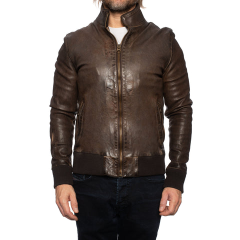 GIANLUCA VACCHI Collection Brown Antiqued Leather Bomber Jacket XS