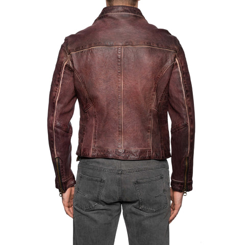 GIANLUCA VACCHI Collection Burgundy Antiqued Leather Cafe Racer Jacket S-M
