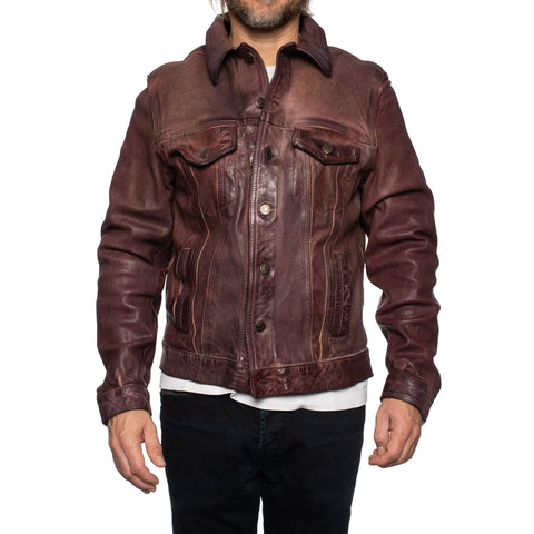 GIANLUCA VACCHI Collection Burgundy Antiqued Leather Trucker Jacket S